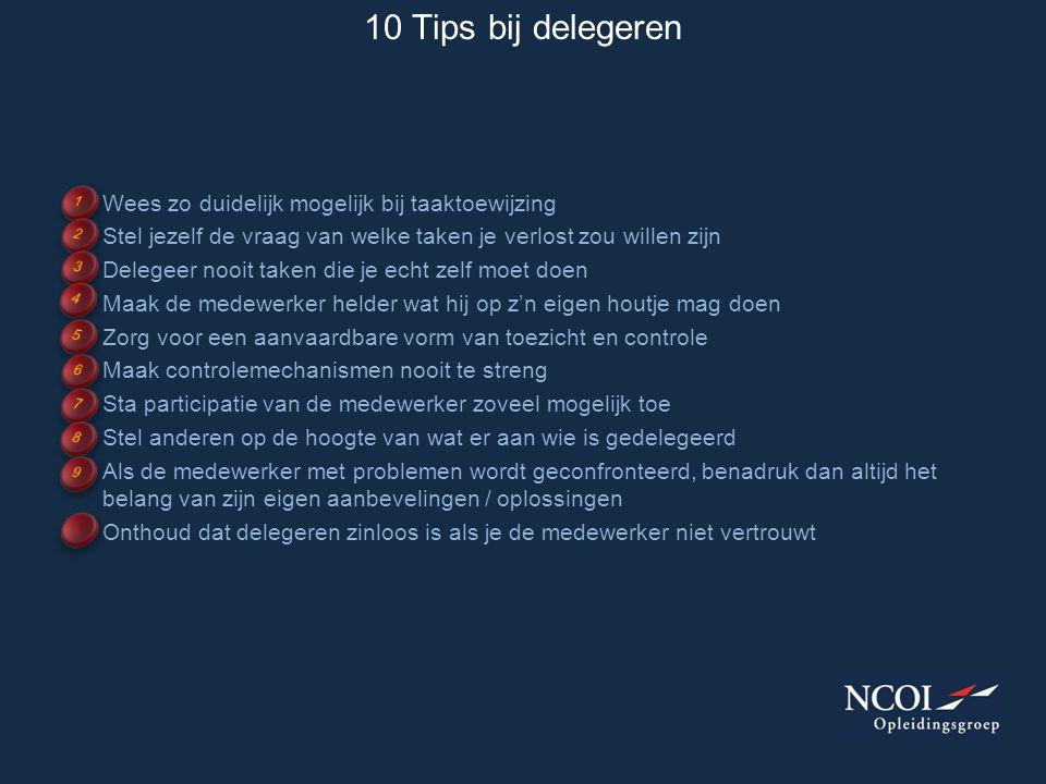 10 Tips bij delegeren Wees zo duidelijk mogelijk bij taaktoewijzing