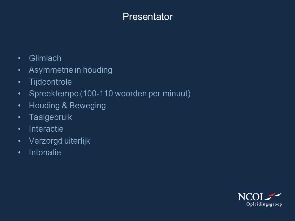 Presentator Glimlach Asymmetrie in houding Tijdcontrole