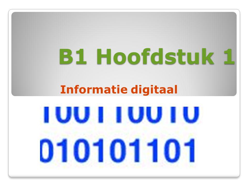 B1 Hoofdstuk 1 Informatie digitaal