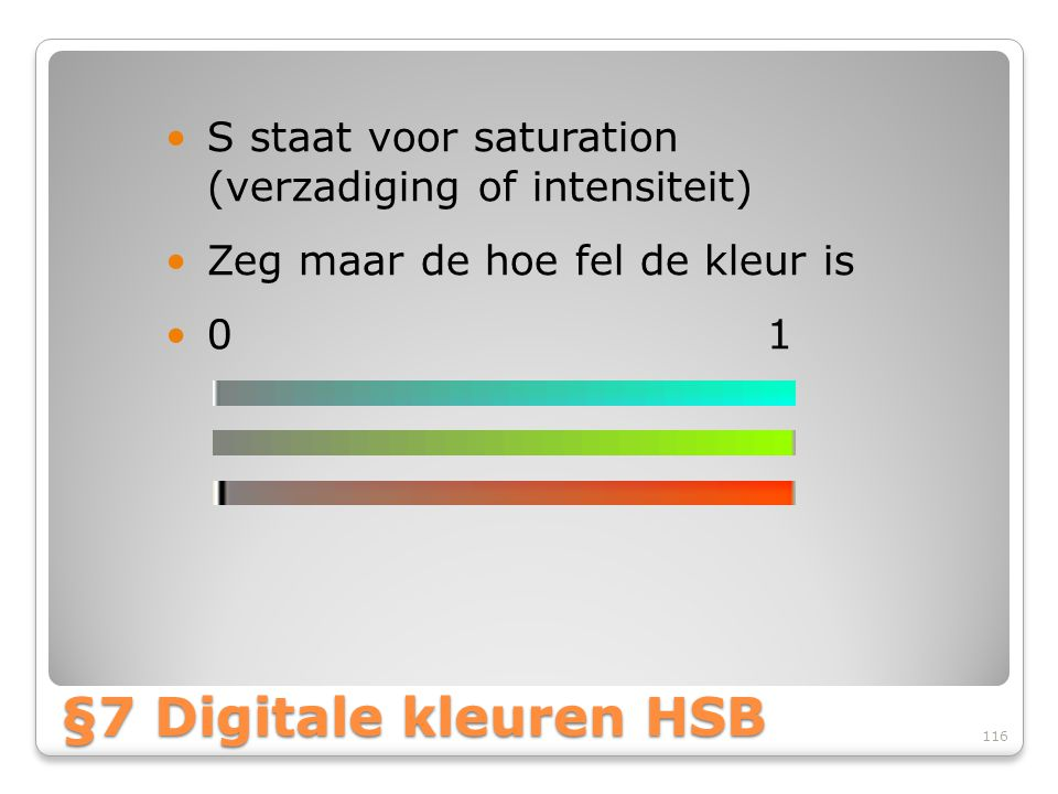 S staat voor saturation (verzadiging of intensiteit)