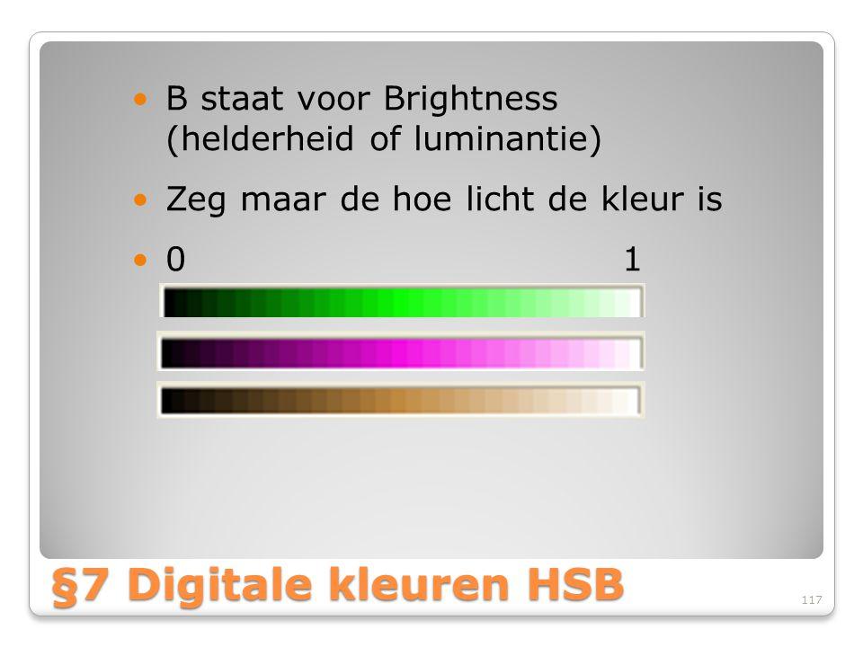 B staat voor Brightness (helderheid of luminantie)