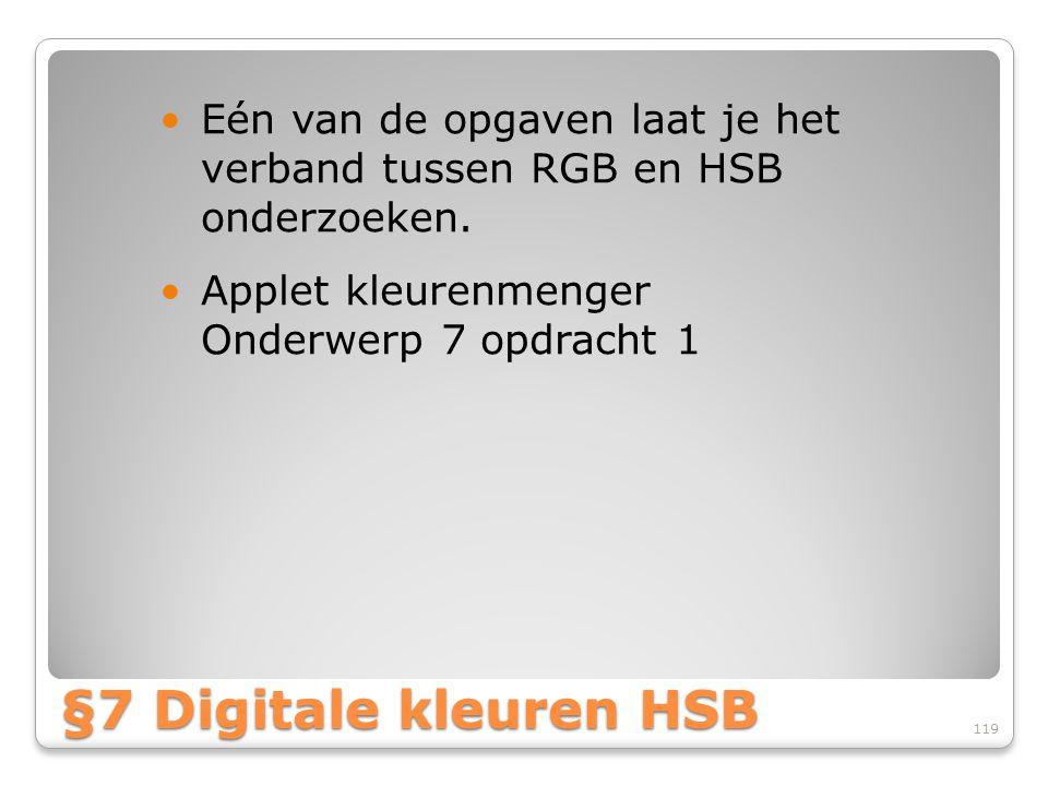 Eén van de opgaven laat je het verband tussen RGB en HSB onderzoeken.