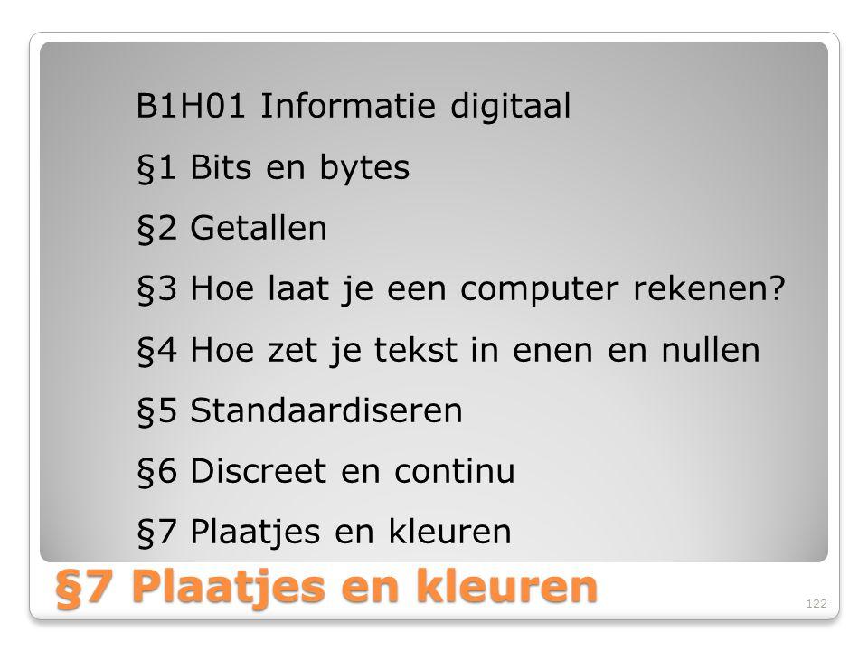 §7 Plaatjes en kleuren B1H01 Informatie digitaal §1 Bits en bytes