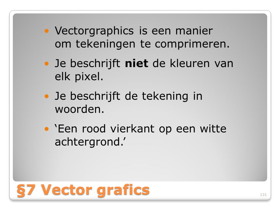 Vectorgraphics is een manier om tekeningen te comprimeren.