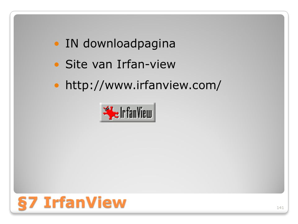 §7 IrfanView IN downloadpagina Site van Irfan-view