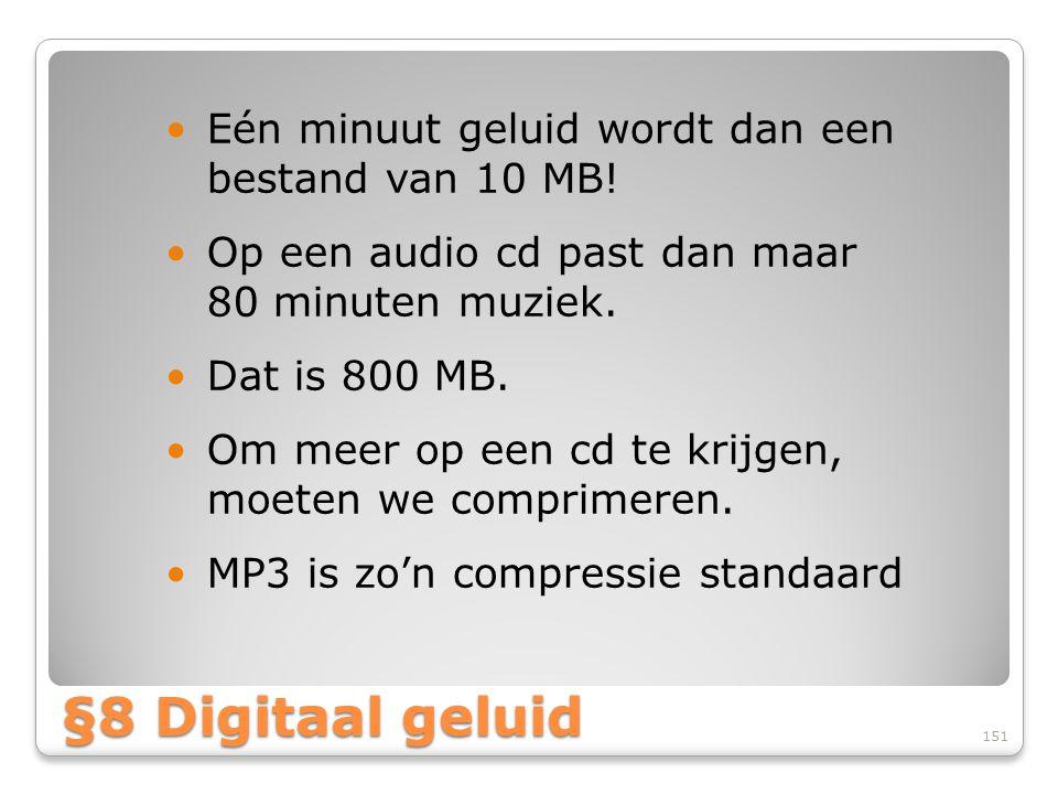 §8 Digitaal geluid Eén minuut geluid wordt dan een bestand van 10 MB!