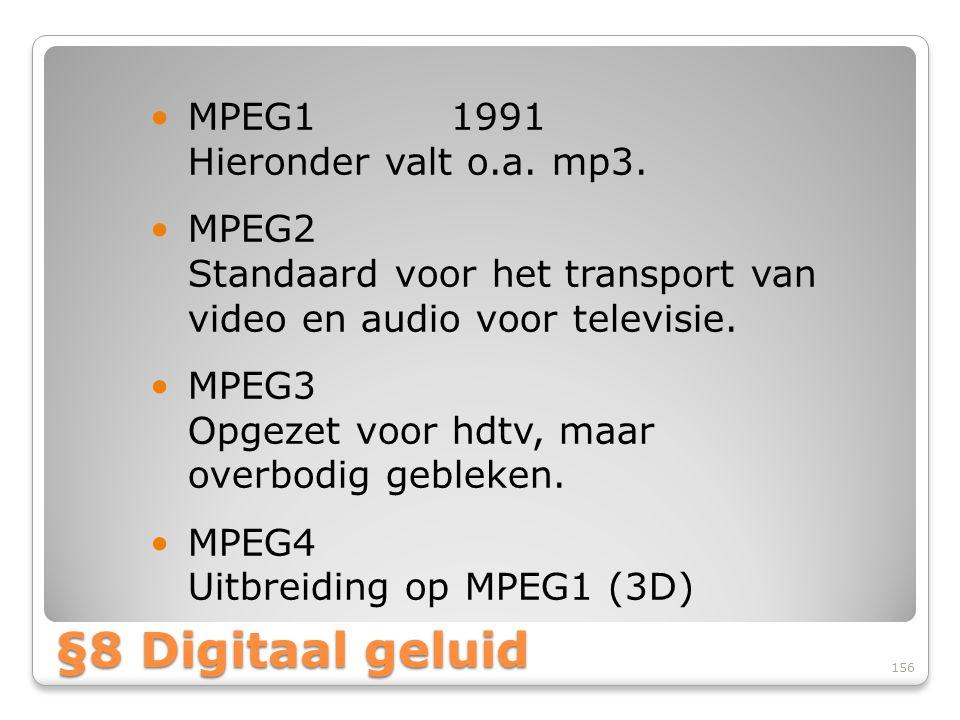 §8 Digitaal geluid MPEG1 1991 Hieronder valt o.a. mp3.