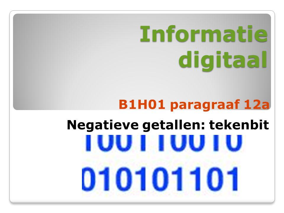 Informatie digitaal B1H01 paragraaf 12a Negatieve getallen: tekenbit