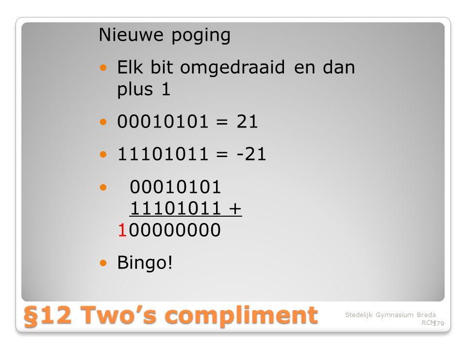 §12 Two's compliment Nieuwe poging Elk bit omgedraaid en dan plus 1