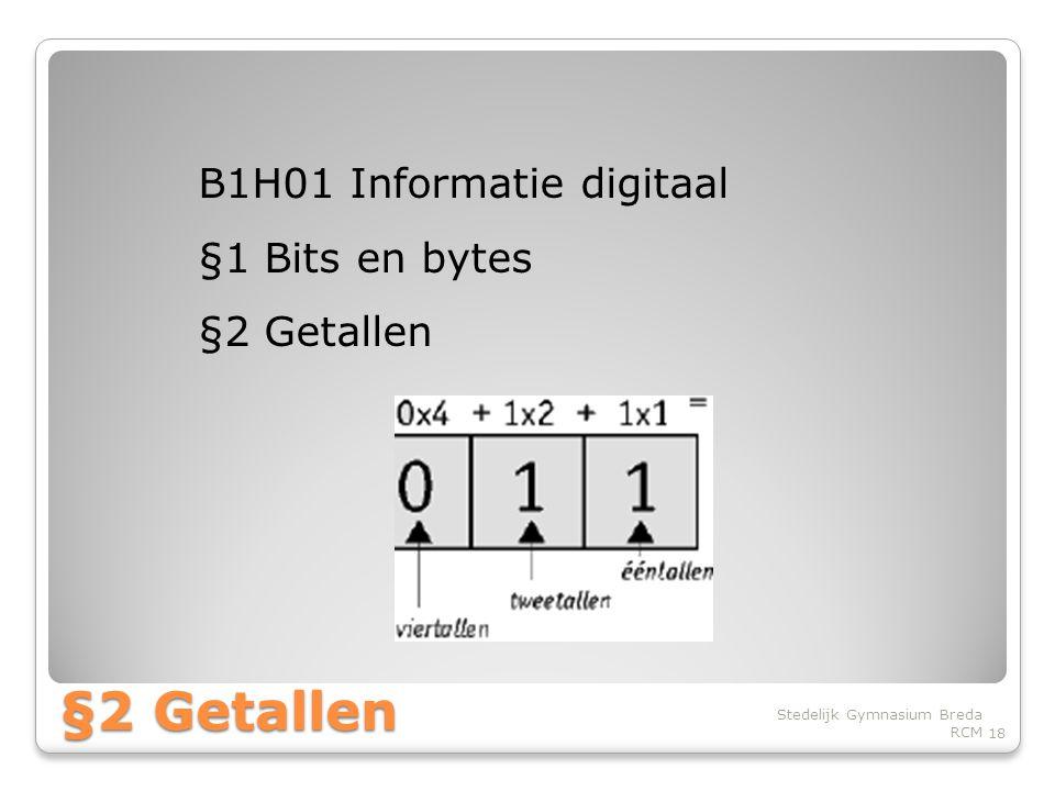 §2 Getallen B1H01 Informatie digitaal §1 Bits en bytes §2 Getallen