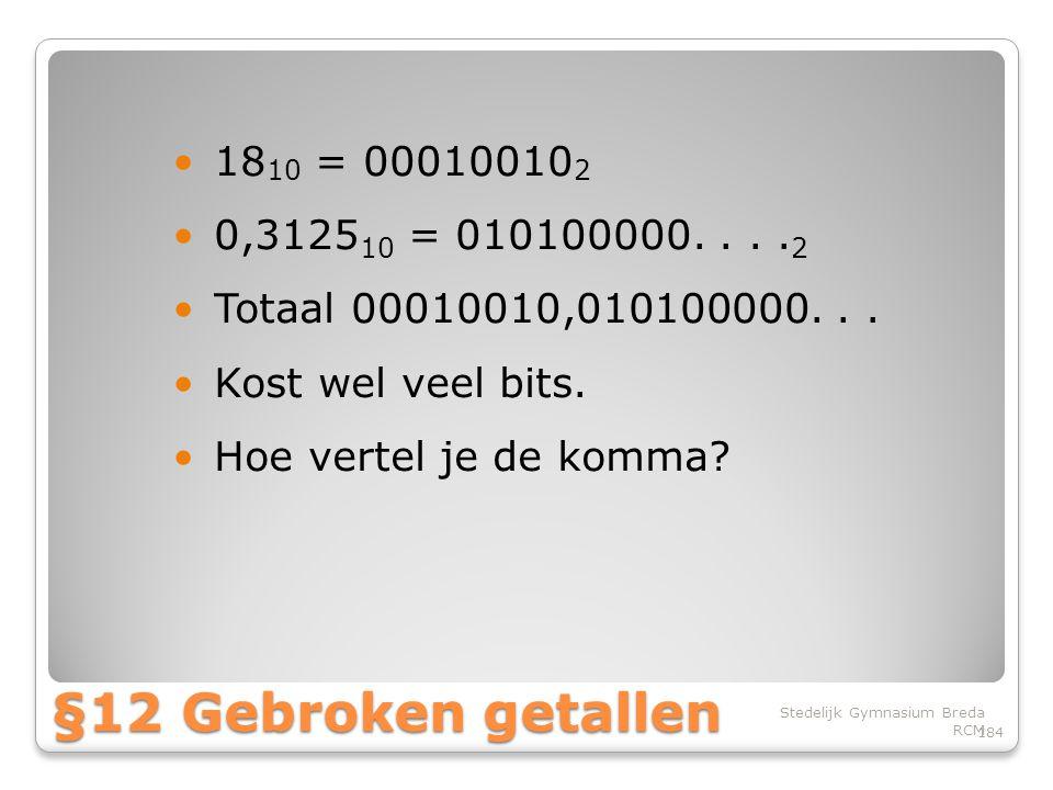 1810 = 000100102 0,312510 = 010100000. . . .2. Totaal 00010010,010100000. . . Kost wel veel bits.