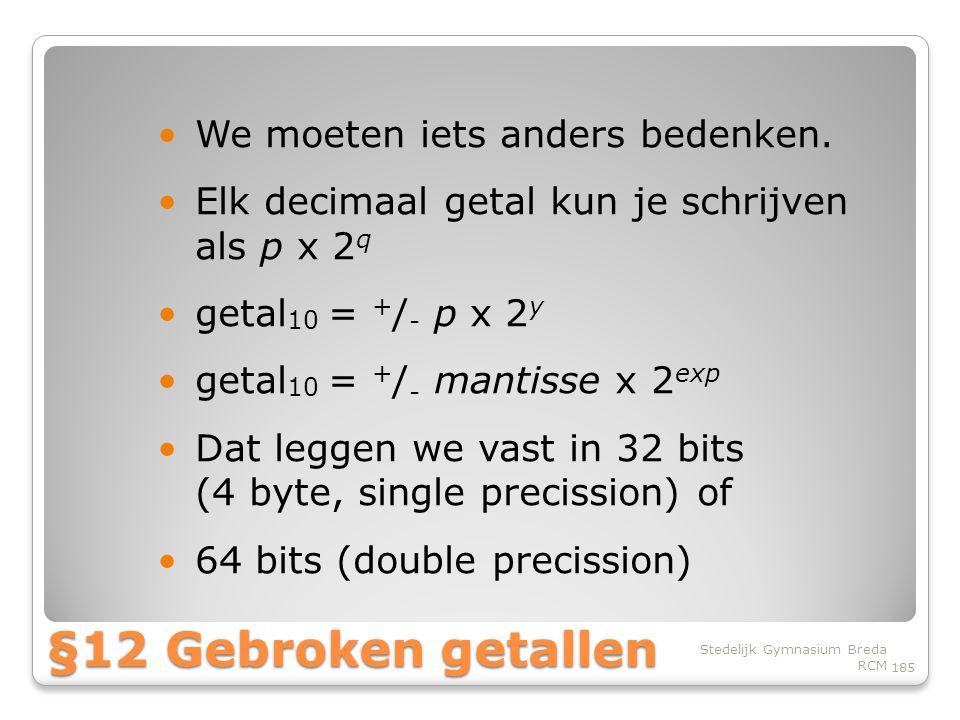 §12 Gebroken getallen We moeten iets anders bedenken.