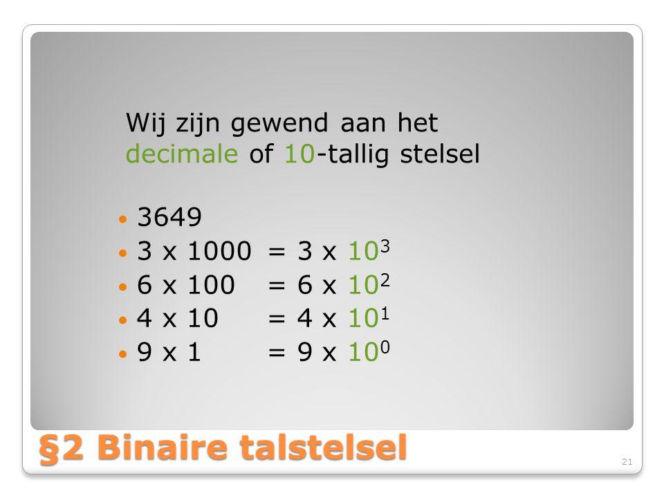 Wij zijn gewend aan het decimale of 10-tallig stelsel