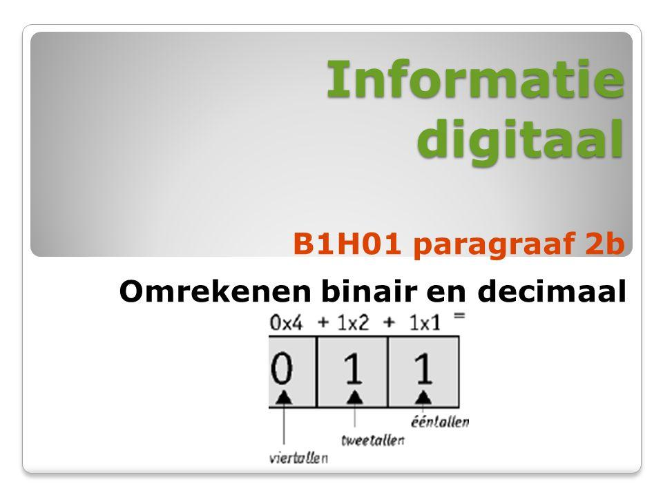 Informatie digitaal B1H01 paragraaf 2b Omrekenen binair en decimaal