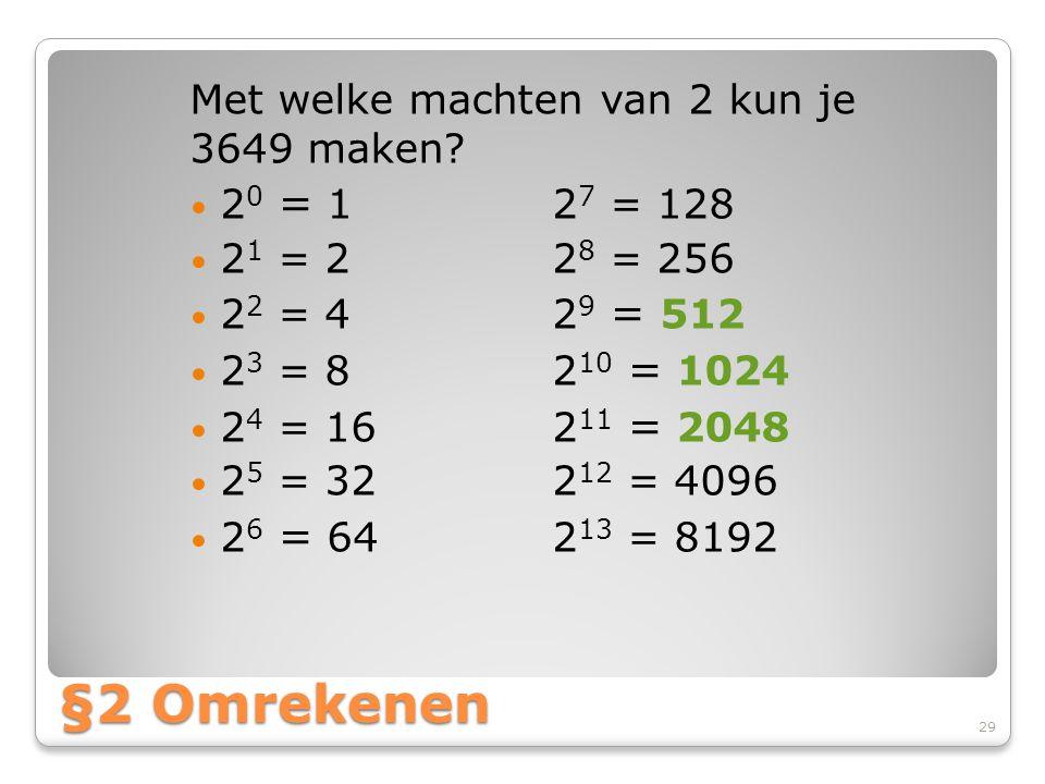 §2 Omrekenen Met welke machten van 2 kun je 3649 maken