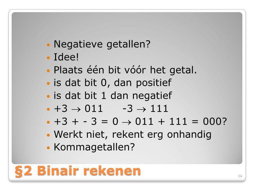 §2 Binair rekenen Negatieve getallen Idee!