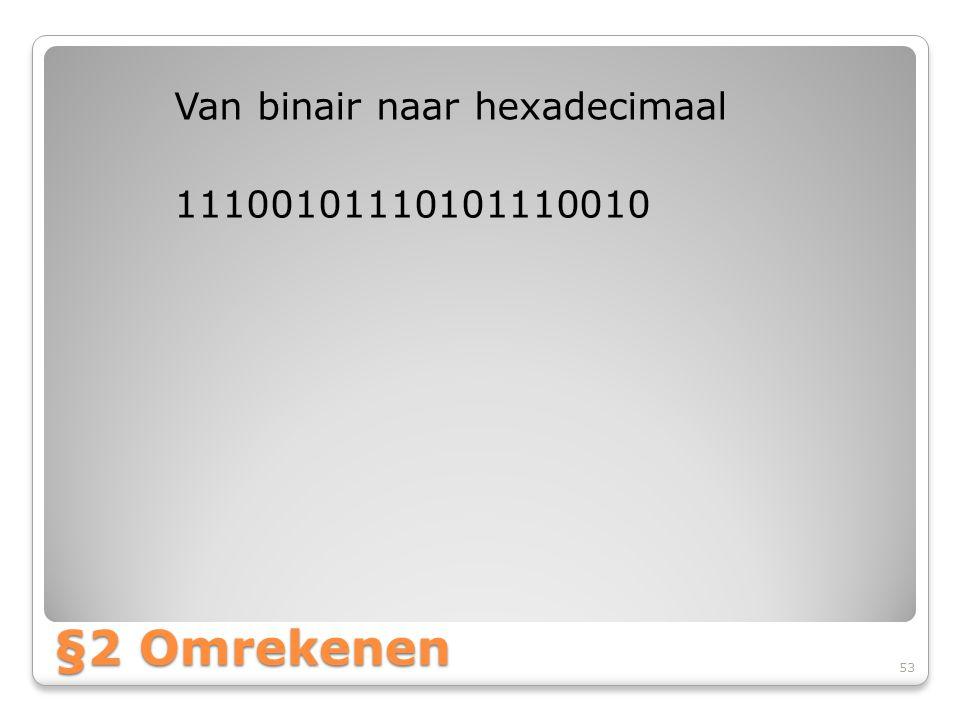 Van binair naar hexadecimaal 11100101110101110010