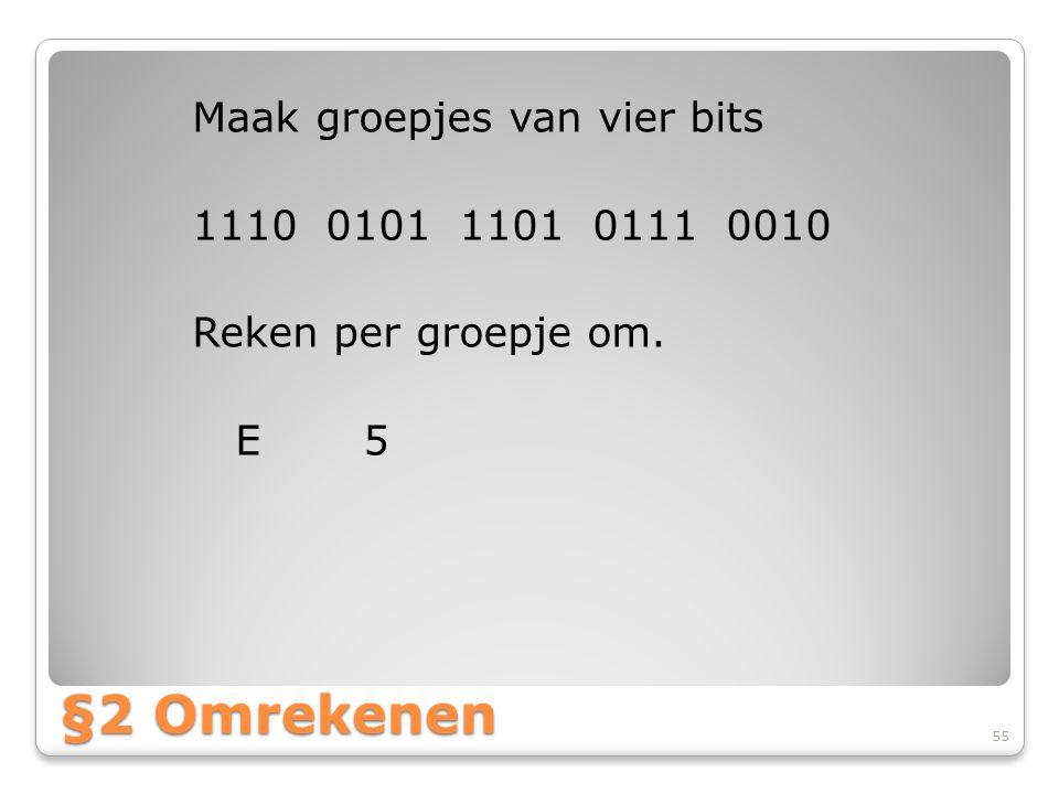 Maak groepjes van vier bits 1110 0101 1101 0111 0010 Reken per groepje om. E 5