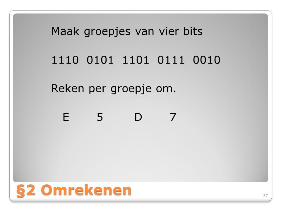 Maak groepjes van vier bits 1110 0101 1101 0111 0010 Reken per groepje om. E 5 D 7