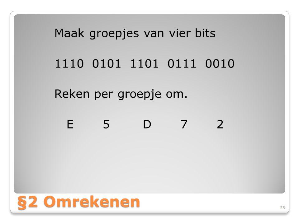 Maak groepjes van vier bits 1110 0101 1101 0111 0010 Reken per groepje om. E 5 D 7 2