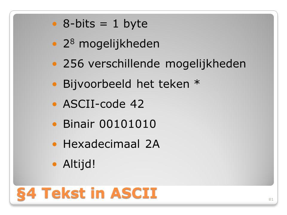 §4 Tekst in ASCII 8-bits = 1 byte 28 mogelijkheden