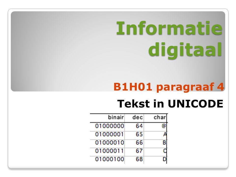 Informatie digitaal B1H01 paragraaf 4 Tekst in UNICODE