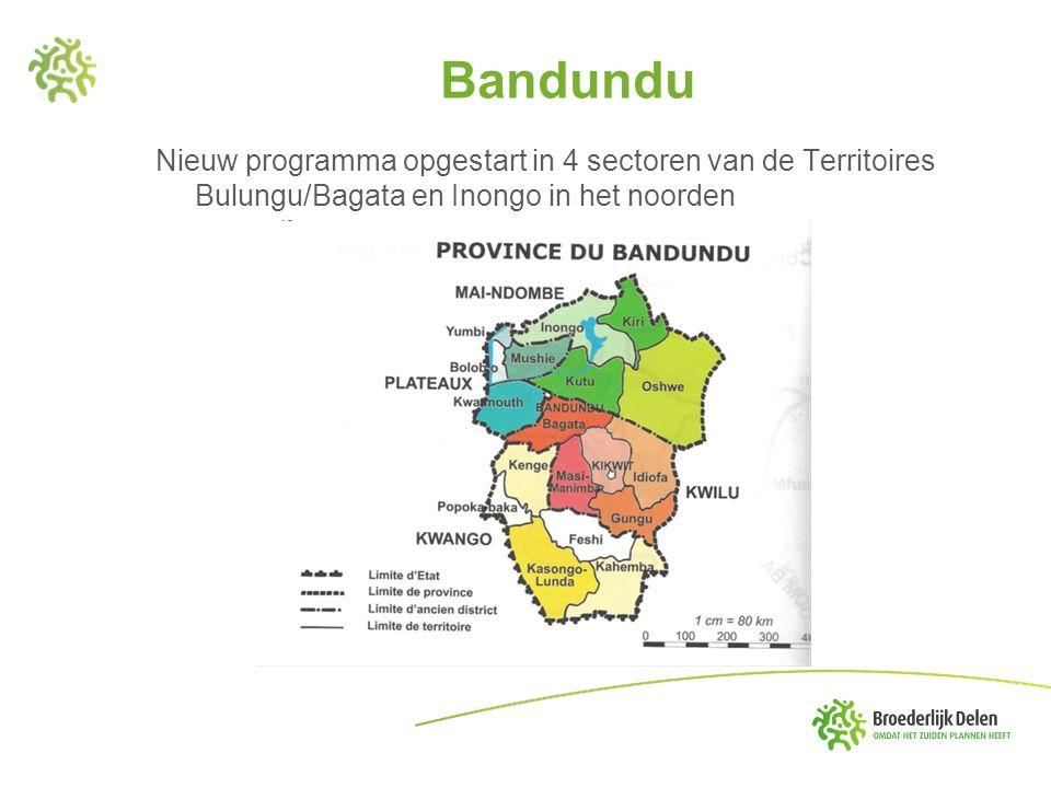 Bandundu Nieuw programma opgestart in 4 sectoren van de Territoires Bulungu/Bagata en Inongo in het noorden.
