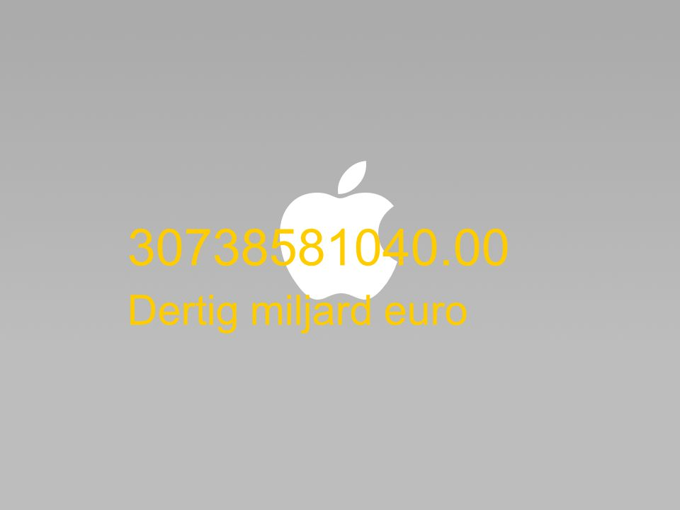 30738581040.00 Dertig miljard euro