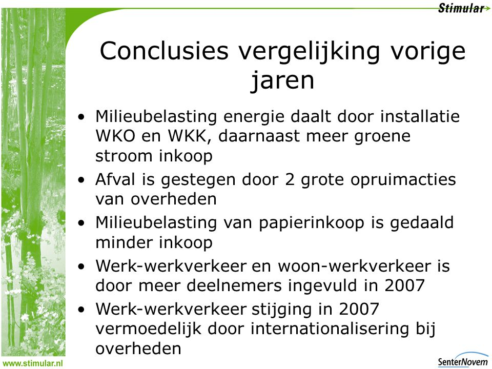 Conclusies vergelijking vorige jaren