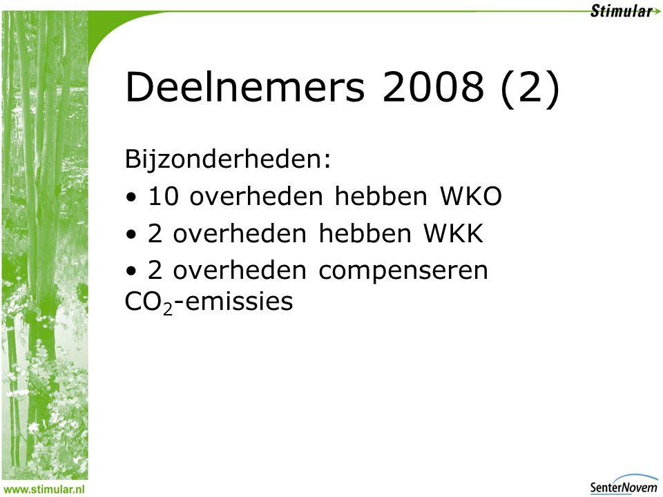 Deelnemers 2008 (2) Bijzonderheden: 10 overheden hebben WKO