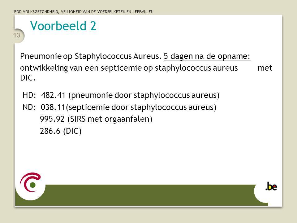 Voorbeeld 2 Pneumonie op Staphylococcus Aureus. 5 dagen na de opname: