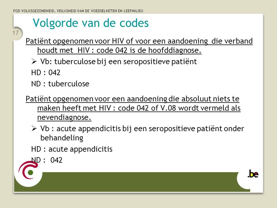 Volgorde van de codes Patiënt opgenomen voor HIV of voor een aandoening die verband houdt met HIV : code 042 is de hoofddiagnose.