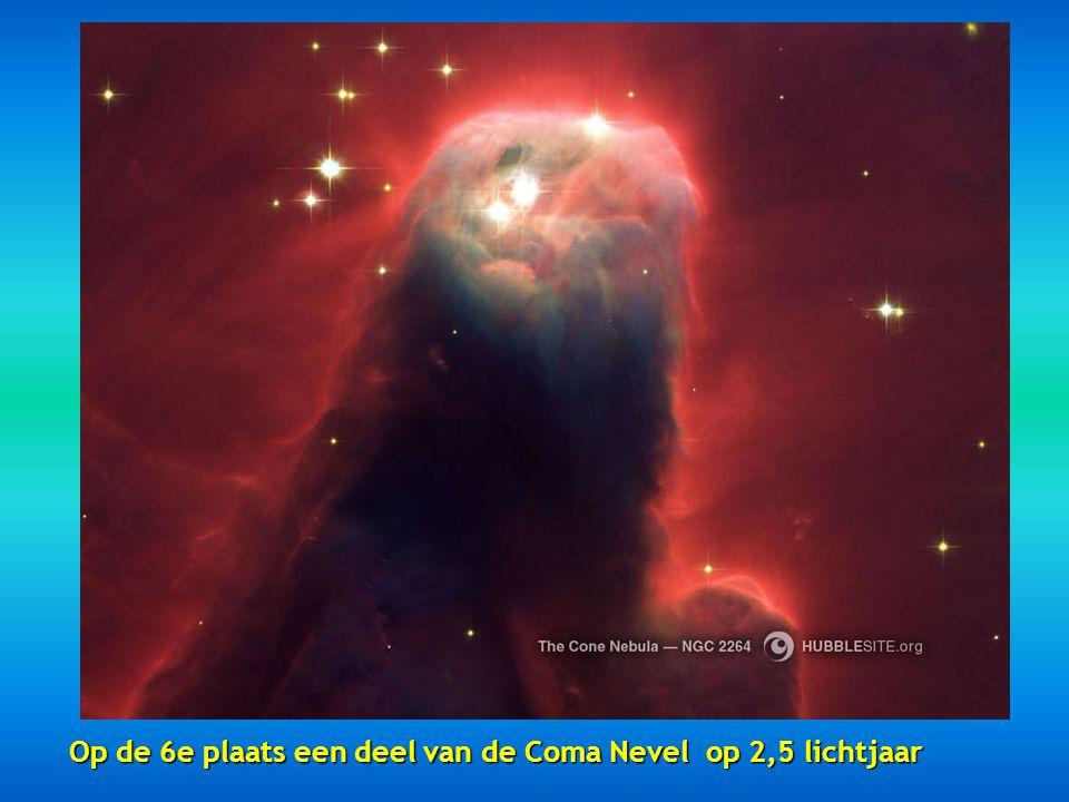 Op de 6e plaats een deel van de Coma Nevel op 2,5 lichtjaar
