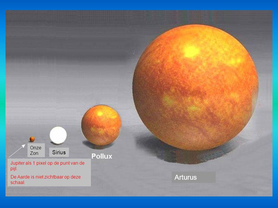 Arturus Sirius Onze Zon Jupiter als 1 pixel op de punt van de pijl.