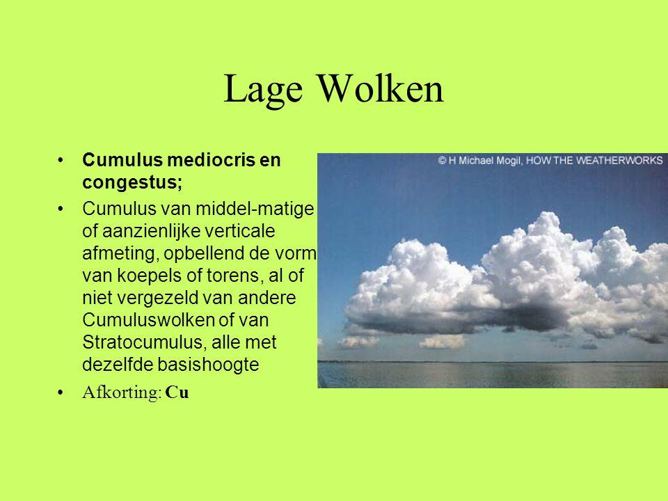 Lage Wolken Cumulus mediocris en congestus;