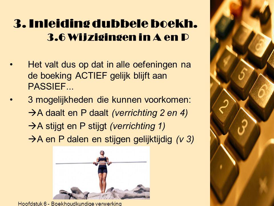 3. Inleiding dubbele boekh. 3.6 Wijzigingen in A en P