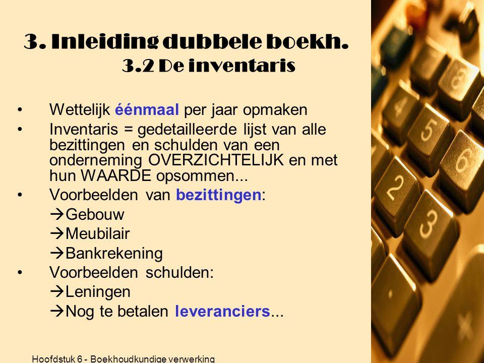 3. Inleiding dubbele boekh. 3.2 De inventaris