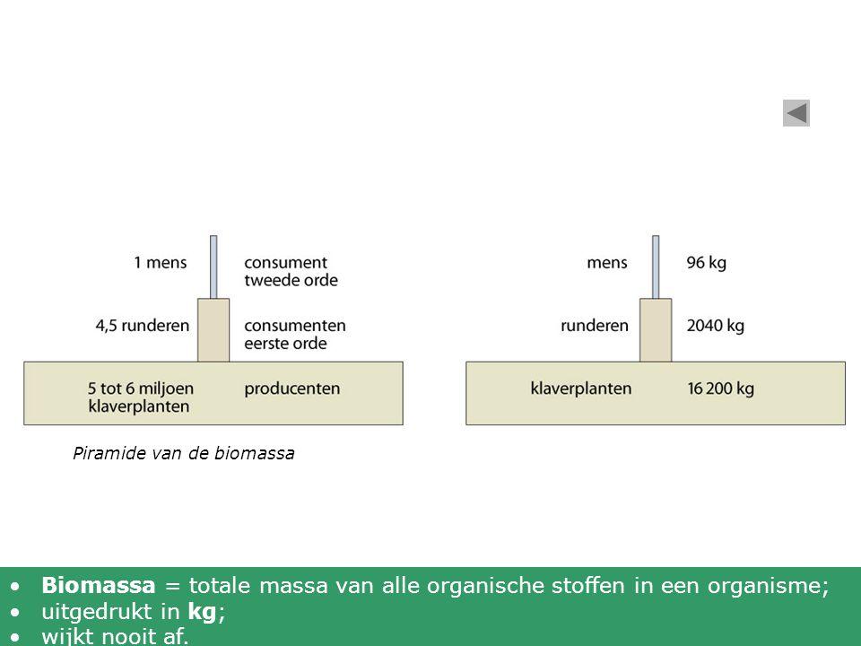 Biomassa = totale massa van alle organische stoffen in een organisme;