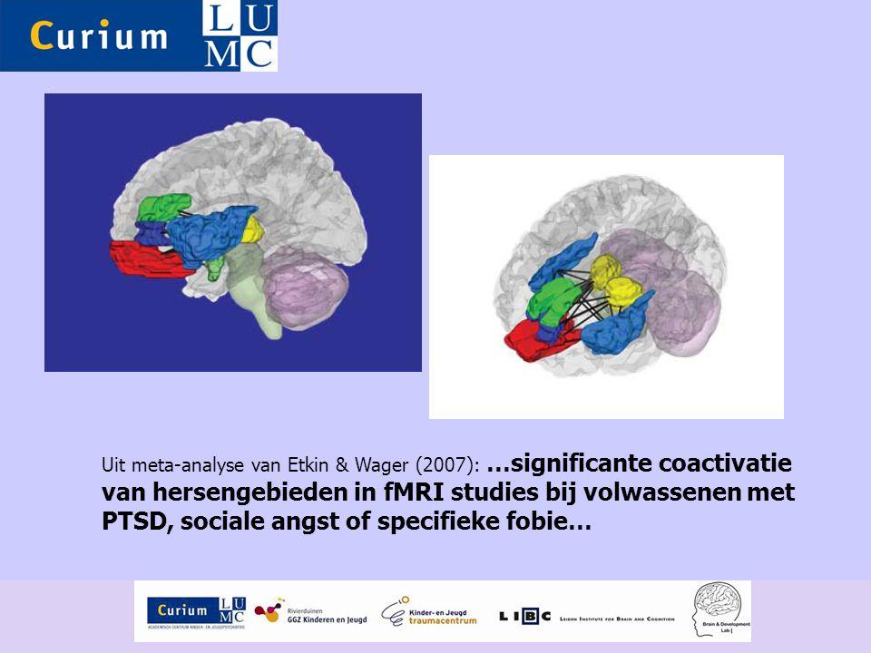 Uit meta-analyse van Etkin & Wager (2007): …significante coactivatie van hersengebieden in fMRI studies bij volwassenen met PTSD, sociale angst of specifieke fobie…
