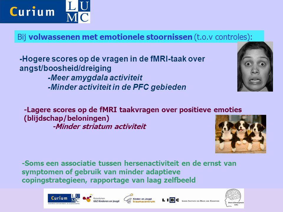 Bij volwassenen met emotionele stoornissen (t.o.v controles):