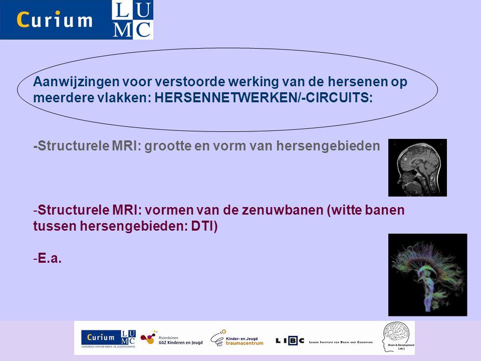 Aanwijzingen voor verstoorde werking van de hersenen op meerdere vlakken: HERSENNETWERKEN/-CIRCUITS: