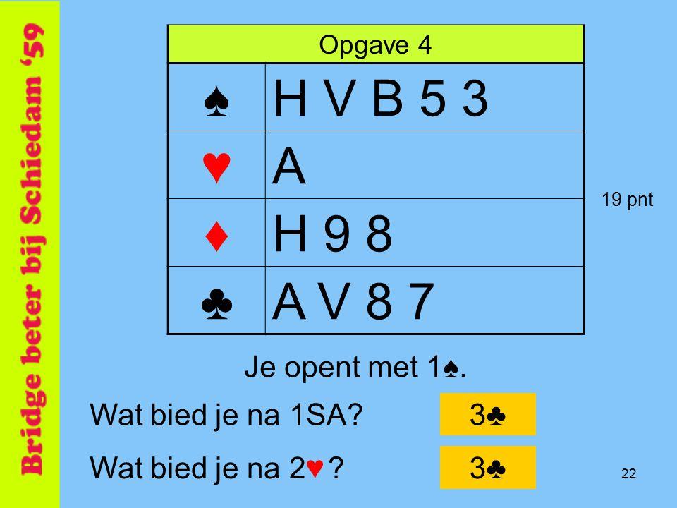 ♠ H V B 5 3 ♥ A ♦ H 9 8 ♣ A V 8 7 Je opent met 1♠. Wat bied je na 1SA