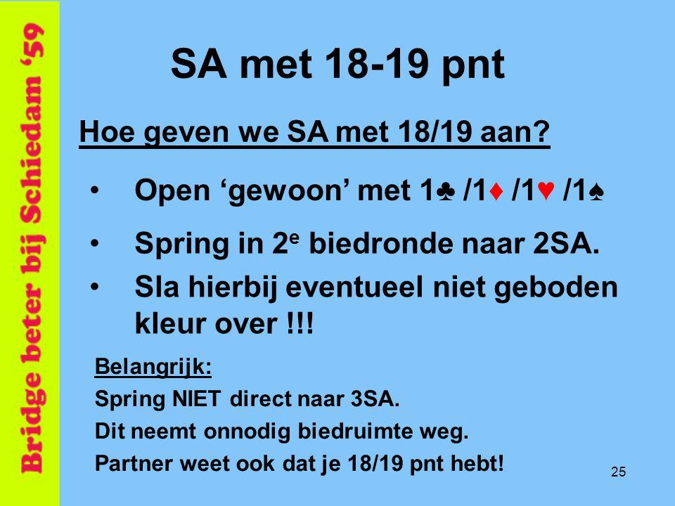 SA met 18-19 pnt Hoe geven we SA met 18/19 aan