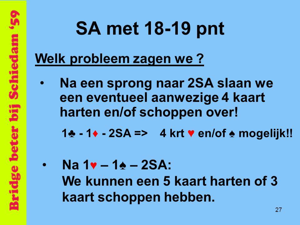 SA met 18-19 pnt Welk probleem zagen we