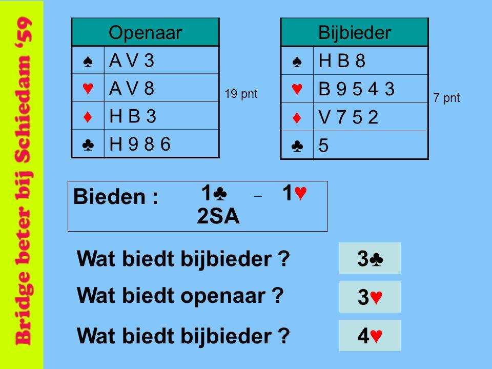 1♣ 1♥ Bieden : 2SA Wat biedt bijbieder 3♣ Wat biedt openaar 3♥