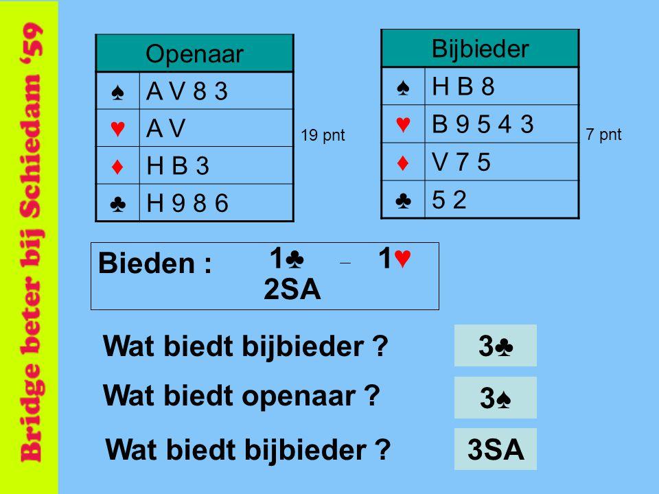 1♣ 1♥ Bieden : 2SA Wat biedt bijbieder 3♣ Wat biedt openaar 3♠
