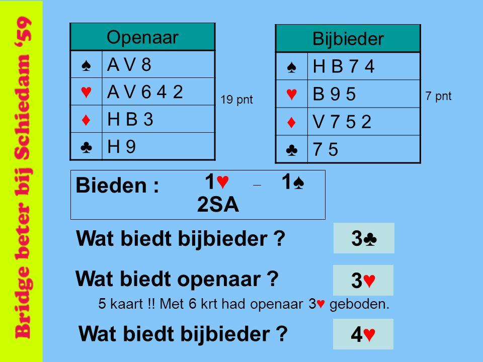 1♥ 1♠ Bieden : 2SA Wat biedt bijbieder 3♣ Wat biedt openaar 3♥