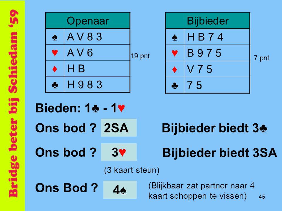 Bieden: 1♣ - 1♥ Ons bod 2SA Bijbieder biedt 3♣ Ons bod 3♥