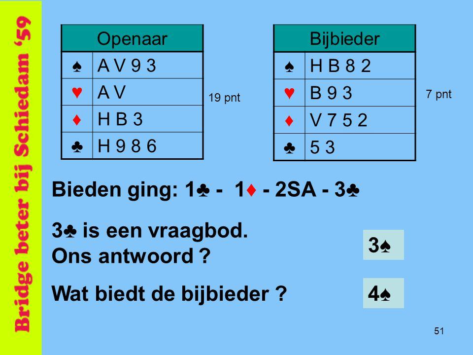 3♣ is een vraagbod. Ons antwoord 3♠