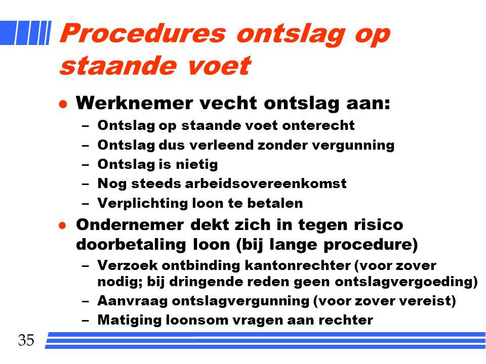 Procedures ontslag op staande voet